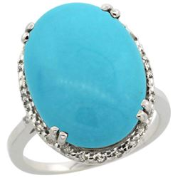 13.71 CTW Turquoise & Diamond Ring 10K White Gold - REF-77W5F