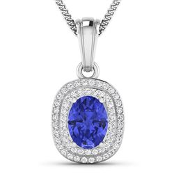 Natural 2.56 CTW Tanzanite & Diamond Pendant 14K White Gold - REF-52W2X