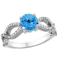 1.25 CTW Swiss Blue Topaz & Diamond Ring 14K White Gold - REF-49W8F