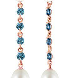 Genuine 11 ctw Blue Topaz & Pearl Earrings 14KT Rose Gold - REF-28K8V