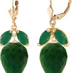 Genuine 26.8 ctw Green Sapphire Corundum & Emerald Earrings 14KT Yellow Gold - REF-59K9V