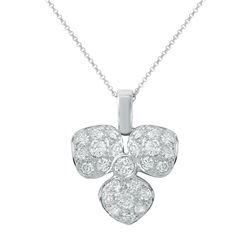Natural 1.06 CTW Diamond Pendant 18K White Gold - REF-135K2R