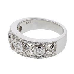Natural 0.25 CTW Diamond Ring 18K White Gold - REF-108W9H