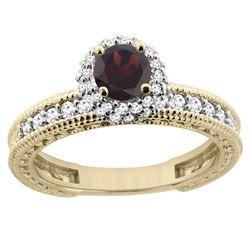 0.95 CTW Garnet & Diamond Ring 14K Yellow Gold - REF-65W9F