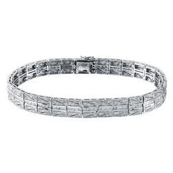Natural 3.03 CTW Diamond & Princess Diamond Bracelet 18K White Gold - REF-527K4R
