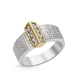 Natural 0.44 CTW Diamond Ring 18K Two Tone Gold - REF-117K9R