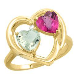2.61 CTW Diamond, Amethyst & Pink Topaz Ring 14K Yellow Gold - REF-33F9N