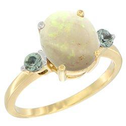 1.65 CTW Opal & Green Sapphire Ring 10K Yellow Gold - REF-24W2F