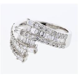 Natural 1.70 CTW Baguette & Diamond Ring 18K White Gold - REF-216N2Y