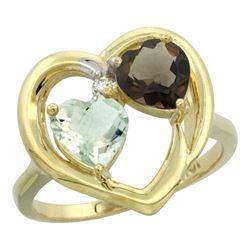 2.61 CTW Diamond, Amethyst & Quartz Ring 14K Yellow Gold - REF-33H9M