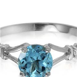 Genuine 1.02 ctw Blue Topaz & Diamond Ring 14KT White Gold - REF-28V3W
