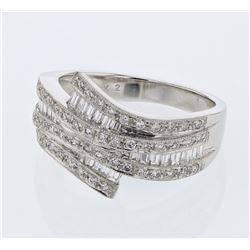 Natural 0.91 CTW Baguette & Diamond Ring 18K White Gold - REF-133N2Y