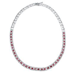 Natural 9.43 CTW Ruby & Diamond Necklace 14K White Gold - REF-461N7Y