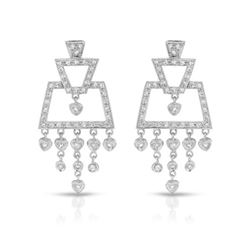 Natural 0.85 CTW Diamond Earrings 18K White Gold - REF-136F8M