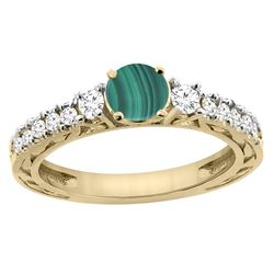 2.53 CTW Malachite & Diamond Ring 14K Yellow Gold - REF-79M2K