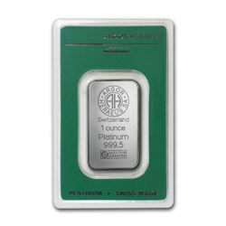 Genuine 1 oz 0.9999 Fine Platinum Bar - Argor-Heraeus