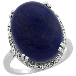 9.60 CTW Lapis Lazuli & Diamond Ring 14K White Gold - REF-53K9W