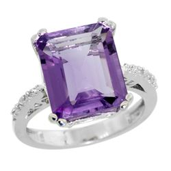 5.52 CTW Amethyst & Diamond Ring 14K White Gold - REF-54K4W