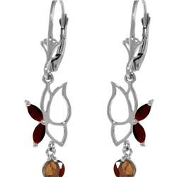 Genuine 0.80 ctw Garnet Earrings 14KT White Gold - REF-38H2X