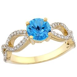 1.25 CTW Swiss Blue Topaz & Diamond Ring 10K Yellow Gold - REF-49W8F