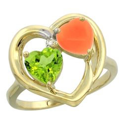 1.31 CTW Peridot & Diamond Ring 14K Yellow Gold - REF-33X5M
