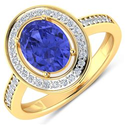 Natural 1.82 CTW Tanzanite & Diamond Ring 14K Yellow Gold - REF-64F8N