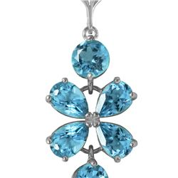 Genuine 3.15 ctw Blue Topaz Necklace 14KT White Gold - REF-30Z3N