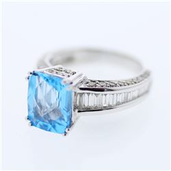 Natural 3.23 CTW Topaz & Baguette Ring 14K White Gold - REF-119F7M