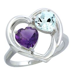 2.61 CTW Diamond, Amethyst & Aquamarine Ring 10K White Gold - REF-27X9M