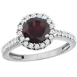1.39 CTW Garnet & Diamond Ring 14K White Gold - REF-60W9F