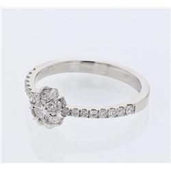 Natural 0.61 CTW Diamond Ring 14K White Gold - REF-105F3M