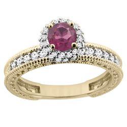 0.95 CTW Rhodolite & Diamond Ring 14K Yellow Gold - REF-66N2Y