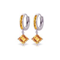Genuine 4.4 ctw Citrine Earrings 14KT White Gold - REF-53K6V