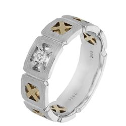 Natural 0.11 CTW Diamond Ring 14K Two Tone Gold - REF-73F8M