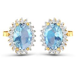 Natural 2.36 CTW Aquamarine & Diamond Earrings 14K Yellow Gold - REF-43K3W