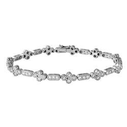 Natural 1.62 CTW Diamond Bracelet 14K White Gold - REF-177N3Y