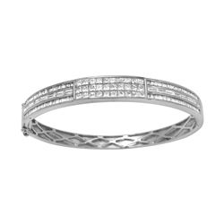 Natural 5.62 CTW Baguette & Princess Diamond Bracelet 14K White Gold - REF-727N2Y