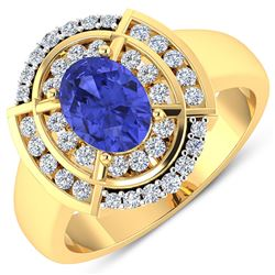 Natural 2.77 CTW Tanzanite & Diamond Ring 14K Yellow Gold - REF-70R2F