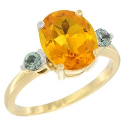 2.64 CTW Citrine & Green Sapphire Ring 14K Yellow Gold - REF-32R3H