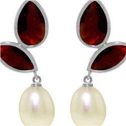 Genuine 16 ctw Pearl, Garnet & Garnet Earrings 14KT White Gold - REF-42Z2N