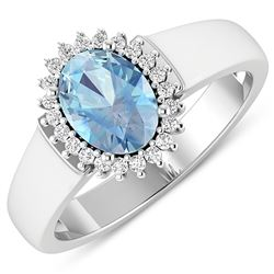 Natural 2.2 CTW Aquamarine & Diamond Ring 14K White Gold - REF-45T6H