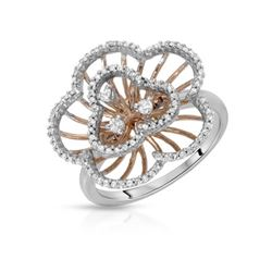 Natural 0.42 CTW Diamond Ring 14K Two Tone Rose Gold - REF-59K4R