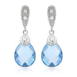 Natural 6.35 CTW Topaz & Diamond Earrings 14K White Gold - REF-44K3R