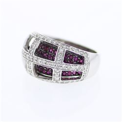 Natural 2.22 CTW Ruby & Diamond Ring 14K White Gold - REF-135N2Y