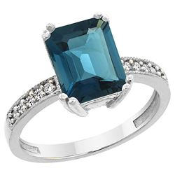 3.70 CTW London Blue Topaz & Diamond Ring 14K White Gold - REF-41H2M