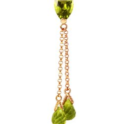 Genuine 3.75 ctw Peridot Necklace 14KT Rose Gold - REF-23F5Z