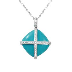 Natural 10.66 CTW Turquoise & Diamond Necklace 14K White Gold - REF-33W3H