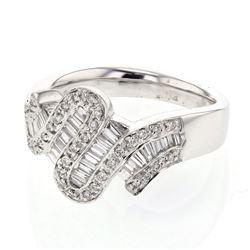Natural 0.55 CTW Baguette & Diamond Ring 14K White Gold - REF-108T9X