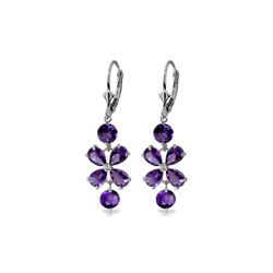 Genuine 5.32 ctw Amethyst Earrings 14KT White Gold - REF-50K3V