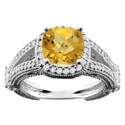 4.10 CTW Quartz & Diamond Ring 14K White Gold - REF-54X2M